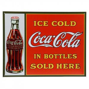 Targhe metallo grandi Coca Cola Ice cold